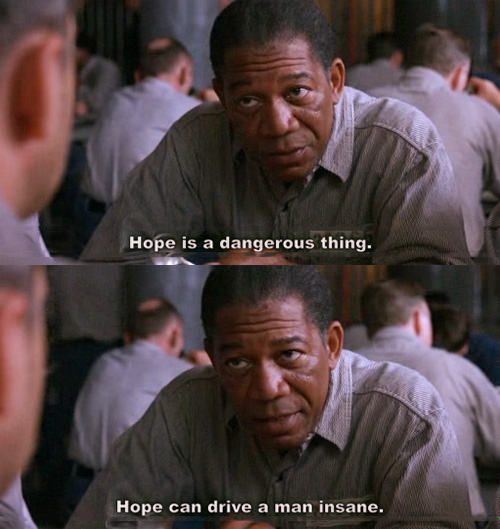 Red (Morgan Freeman) hablando sobre la esperanza en The Shawshank Redemption. (Tomado de Stillonmybrain).