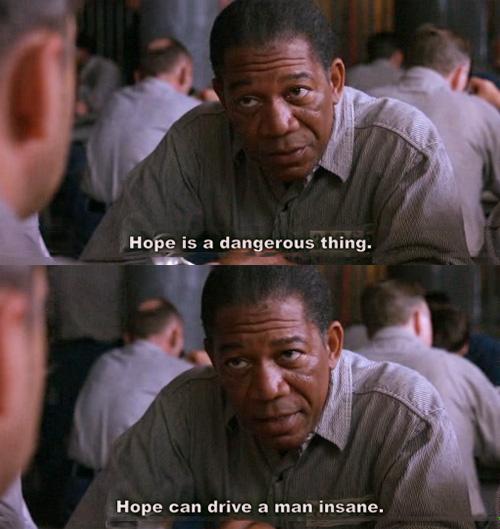 Red (Morgan Freeman) hablando sobre la esperanza en The Shawshank Redemption. (Tomado de Stillonmybrain).