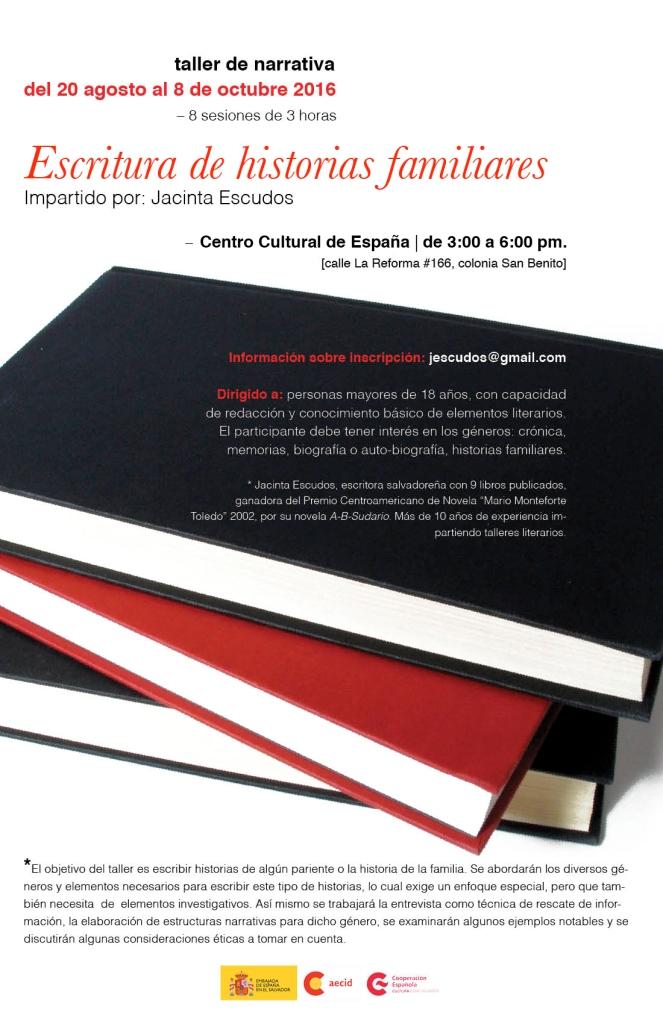 Afiche de convocatoria al taller de escritura de historias familiares