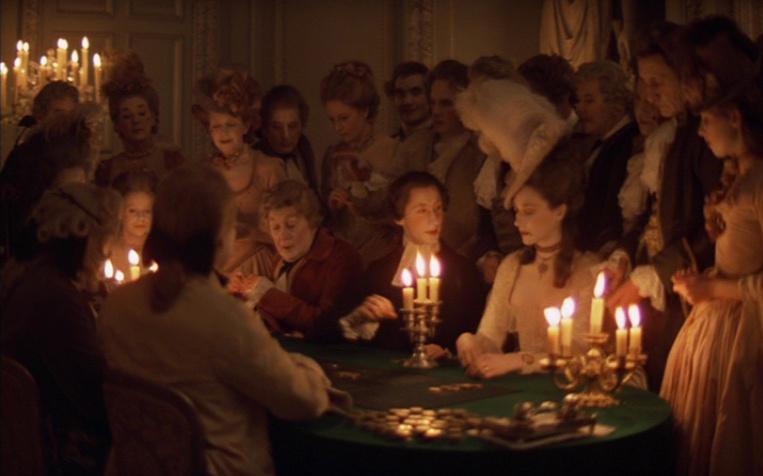 Fotograma de una de las famosas escenas filmadas a luz de vela. Barry Lindon (1975) de Stanley Kubrick.